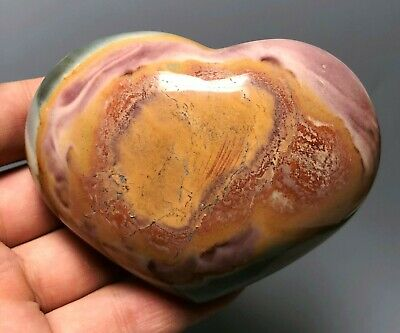Polished POLYCHROME JASPER HEART Reiki Healing Palm Stone - Madagascar