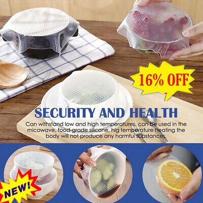 3* Reusable stretch Lid Silicone Wraps Seal Vacuum Food-Fresh Keeping Cover Z6T7
