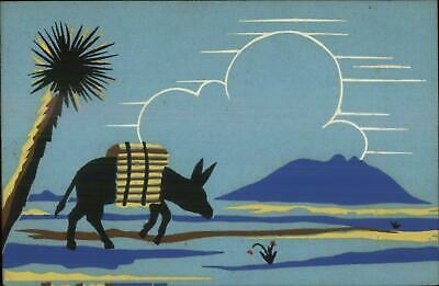 Art Deco - Hand Painted? Donkey Burro in Desert Palm Tree Old Postcard