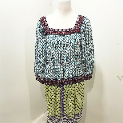 Beige ECI Size L Dress Fit Flare Multicolor Floral Boho Square Neck Size 12 14