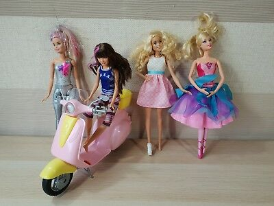 4x BARBIE DOLL BUNDLE WITH CLOTHES & PINK SCOOTER MOPED SKIPPER BALERINA