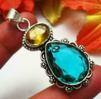 Green Quartz Citrine Gemstone Pendant 925 Silver Plated U193-B116