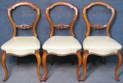 3 Victorian Carved Walnut Cabriole Legs Chairs