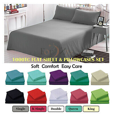 1000TC 3PCS Soft Flat Sheet Set Single/KS/Double/Queen/King Bed (No Fitted)