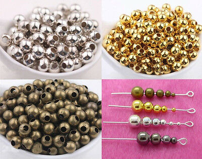 2.5mm 3mm 4mm 6mm 8mm Metal Round Ball Spacer Beads Gold Silver Plated Wholesale