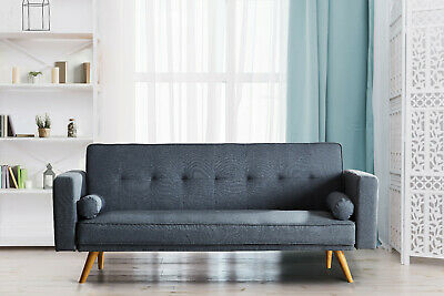 Stylish Linen Fabric Upholstered Clic Clac Sofa Bed 3 Seater Reclining Settee