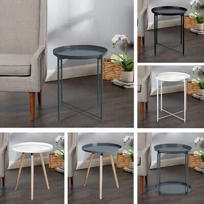 Retro Metal Round Tray Table End Sofa Side Table Living Room Bedroom Occasional