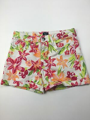 Girls Gap Kids White Pink Green Neon Floral Denim Shorts Zip Fly Uk Age 12 Years