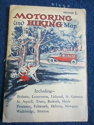 1939 Johnston 3 Miles to 1 Inch Motoring & Hiking Map Section L Cornwall, Scilly