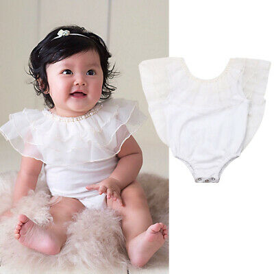 Newborn Infant Baby Girl Pearl Clothes Ruffle Lace Romper Jumpsuit Solid Outfit