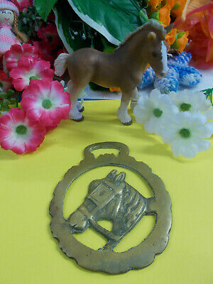 ANTIQUE HORSE BRASS - HORSE HEAD ORNAMENT - HANG ON WALL - 96 x 79 mm # 24