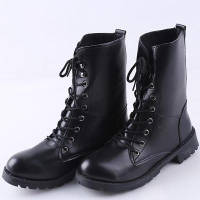Rogue Womens Flats Low Heel Lace Up Ankle Boots Combat Military Biker Ladies New