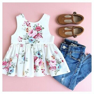 Toddler Baby Girl Clothes Sleeveless Floral Top Shirt Denim Shorts Summer Outfit