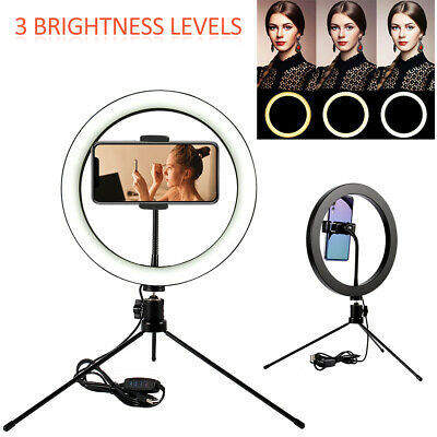 LED Selfie Ring Light Tripod Stand Studio Photo Video Dimmable Lamp Phone Holder