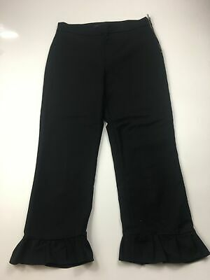 Womens Zara Black Chino Cropped 3/4 Length Capri Frill Trousers  Size Eur Small