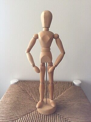 """Vintage 12"""" Wood Artist Mannequin Articulated Figure Jointed Posing Model w/base"""