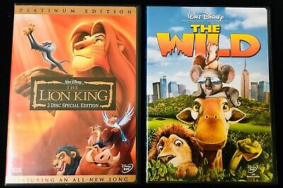 Disney DVD Lot - The Lion King [2 Disc Platinum Edition] & The Wild - FREE SHIP