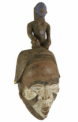 Punu Maiden Spirit Mask with Child Mukudji Gabon African Art SALE WAS $92.00
