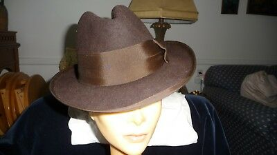 #728 vtg MENS HAT Fedra DARK BROWN Felt  22 1/2'' inner rim