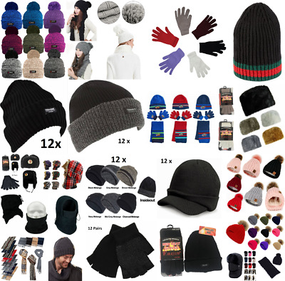 Mens Ladies Kids Winter Multi-Pack Hat Gloves Scarf Beanie Mittens Thermal Warm