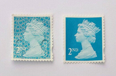 100 Unfranked Second Class Blue Stamps Off Paper. Face Value £61