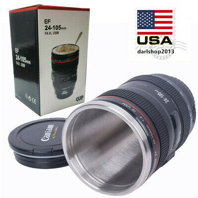 Caniam Camera Lens Cup EF 24-105mm Stainless Steel Travel Tea Coffee Mug Gift