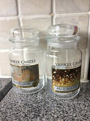 2 EMPTY Yankee Candle Large Jars for Upcycle - Winter Glow & All Is Bright