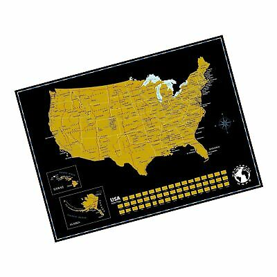 Scratch Off Map of The United States of America with State Flags on Black Bac...