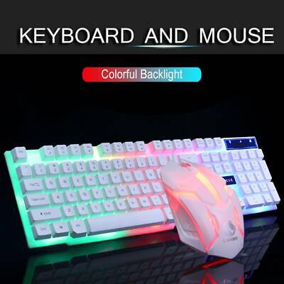 Gaming Keyboard Mouse Set Rainbow LED Wired USB For PC Laptop PS4 Pro Xbox One