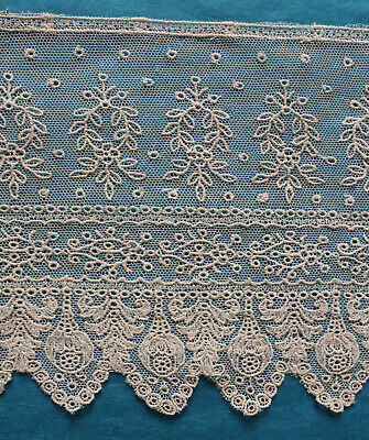 174 cms antique machine embroidered net lace  border