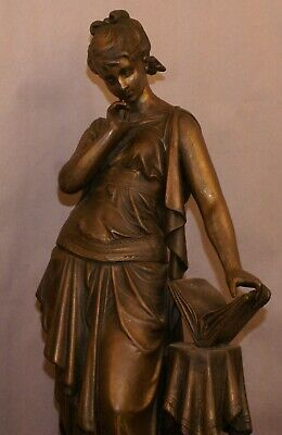 """Antique Siren Statue Early 20th/19th century Pewter Flash Bronze 19 """" Gorgeous"""