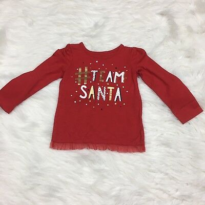 Okie Dokie Girls Size 4T Team Santa T-Shirt Red Gold Christmas Long Sleeve