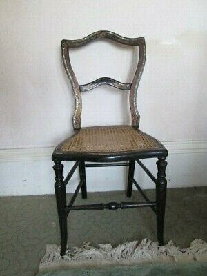 Antique Bedroom Chair Black Laquer Inlaid with Mother of Pearl Cane Seat