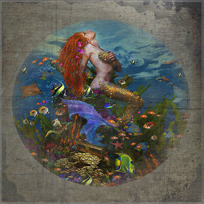 Vintage mermaid undersea art coastal decorative steel sign reproduction
