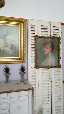 Antique French Artist 19th Century Portrait on Canvas Lady Beautifully Framed