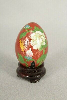 Chinese Cloisonne Egg And Wooden Stand