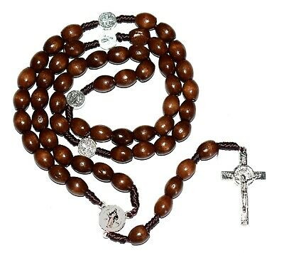 Saint St. Benedict Medal Brown Wood Rosary Necklace Crucifix San Benito Rosario
