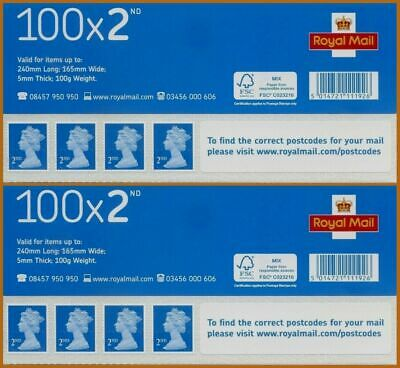 NEW & Genuine 2 x 100 2nd Second Class Stamps Sheets Self Adhesive FV £122