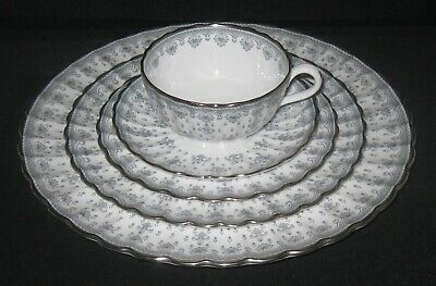 5 Pc Place Setting Spode Bone China Fleur de Lys Platinum Grey- 6 Settings Avail