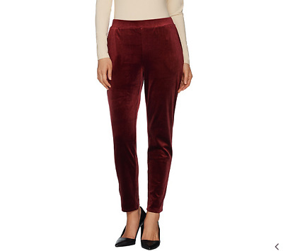Dennis Basso Stretch Velvet Pull-On Pants-Wine-Large-NEW-A301322