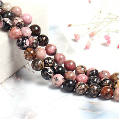 1pcs 4-12mm Black Line Rhodonite Round Beads Loose Bead 15 inches Shining Spacer