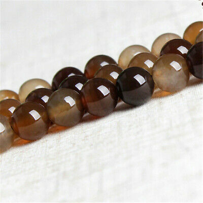 6-12mm Natural Round Coffee Agate Loose Beads Diy Accessories Charm Opaque