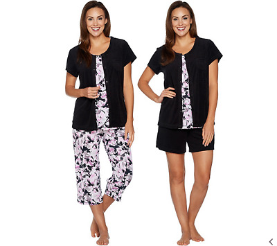 Carole Hochman Daisy Floral Baby French Terry 4-Pc Lounge Set-Black-Petite Large
