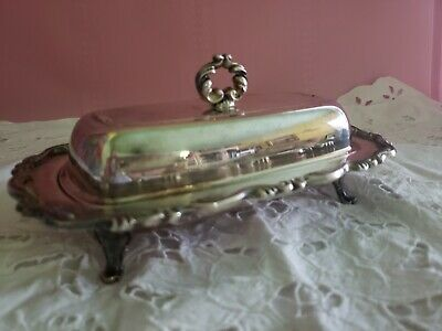 Vintage Silver Footed Butter Dish WM Rogers Silverplate