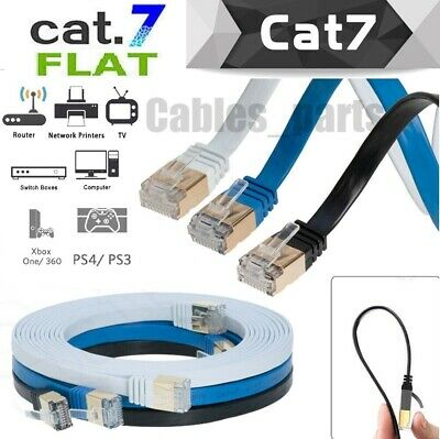 CAT7 Internet Flat Cable RJ45 Network Patch Cord Ethernet Xbox PS4 PC LAN LOT US
