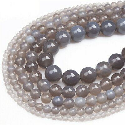 Natural Grey Agate Loose Beads Making Jewelry 15 inches Craft Top Strand Stone