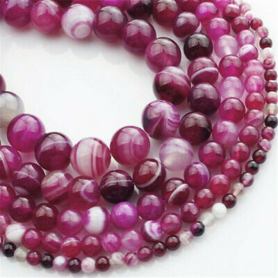 Natural Rose Striped Agate Loose Beads Making Jewelry 15 inches Charm Hole Stone