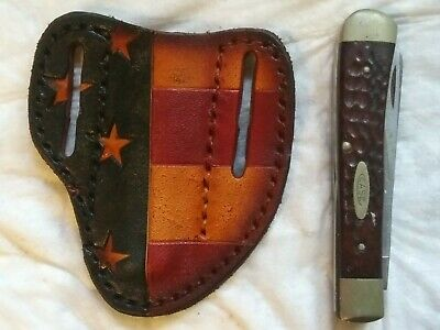 CUSTOM LEATHER PANCAKE Pocket Knife Case Sheath Handmade American