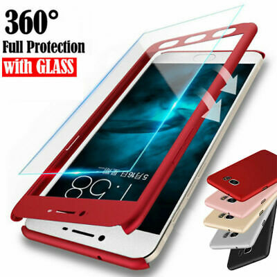 For Samsung J4 J6 Plus J8 / J3 J5 J7 Pro 360° Full Cover Case + Tempered Glass