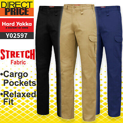 Hard Yakka Work Pants Cargo Stretch Heavy Duty Relax Fit Drill Pants Y02597 NEW
